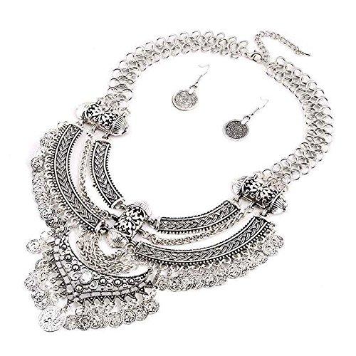 LORSOUL Vendimia de la joyería de la Moneda Borla de Boho Establecer instrucción Gargantilla + Pendiente del Collar