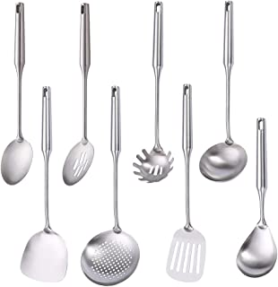 Sponsored Ad - 304 Stainless Steel Kitchen Utensil Set, Standcn 8 PCS All Metal Cooking Tools with Solid Spoon, Slotted Sp...