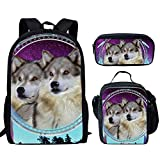HUGS IDEA - Mochila de 15 pulgadas para escuela primaria media con bolsa de almuerzo y estuches para lápices Lobos 15 inch (3PCS Set)