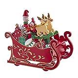 Kurt S. Adler 6-Inch Musical Wooden Sleigh Table Piece Santa, Multi