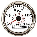 TONG Velocímetro GPS marino 0-15Knots 0-17MPH indicador de velocidad con curso para barcos de yate de barco con luz de fondo 3-3/8 pulgadas (85mm) 12V/24V pantalla digital