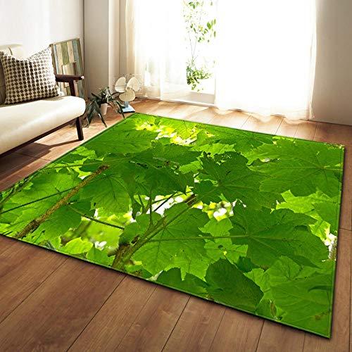 QWFDAQ alfombras Baratas Hojas Verdes 3D alfombras 80 x 160 cm Alfombra...