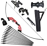 Vogbel Archery 51' Takedown Recurve Bow and Arrows Set for Adults 30 40 lb Right Hand Longbow kit Metal Riser for Hunting Shooting (40lb, Red)