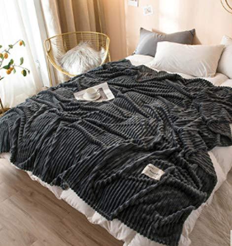 Meipinpai deken herfst en winter strepen verdikte deken effen zachte warme koraal fleece flanel slaapbank deken alle seizoenen 180x200 cm