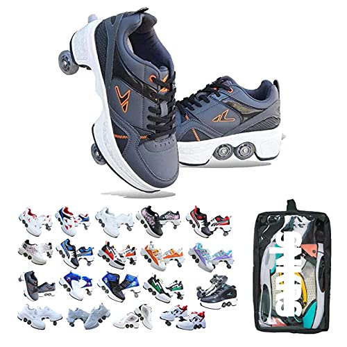 Double-Row Deform Wheel Automatic Walking Shoes Invisible Deformation Roller Skate 2 in 1 Removable Pulley Skates Skating Parkour-D_EU39/US 7.5