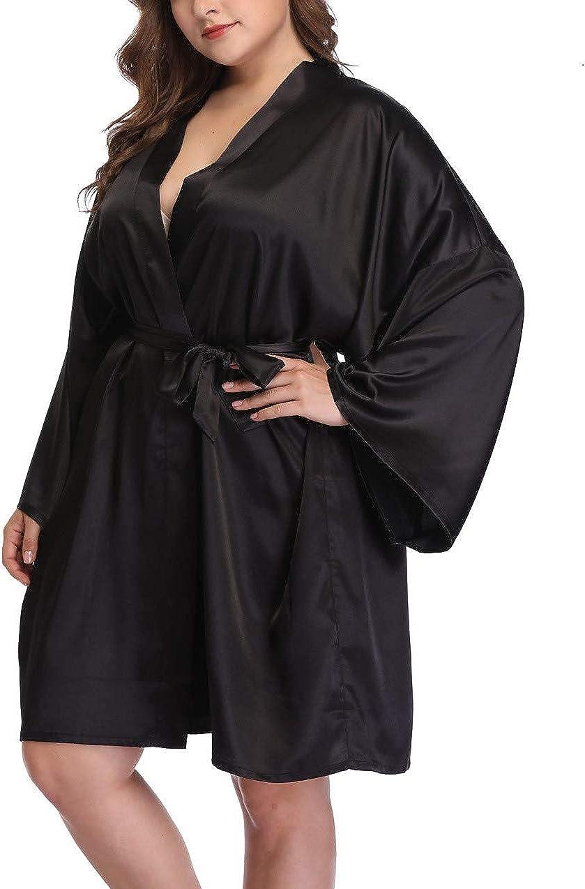 Women's Plus Size Silky Robes Pure Color Short Satin Bathrobes f