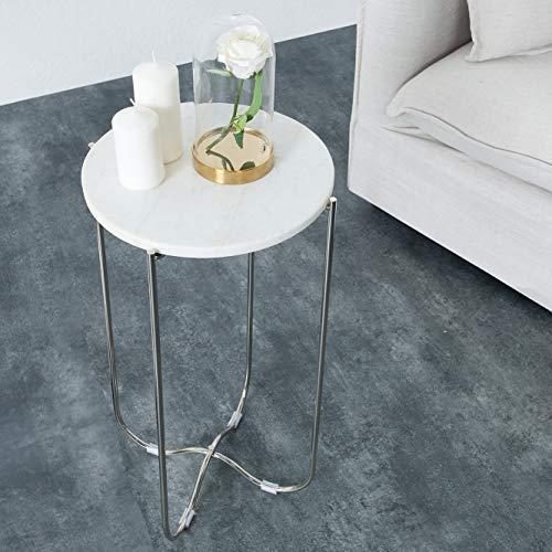 cagü: Design Beistelltisch [FLORENTIN] Weiß aus Marmor mit Silber Gestell 35cm Durchmesser
