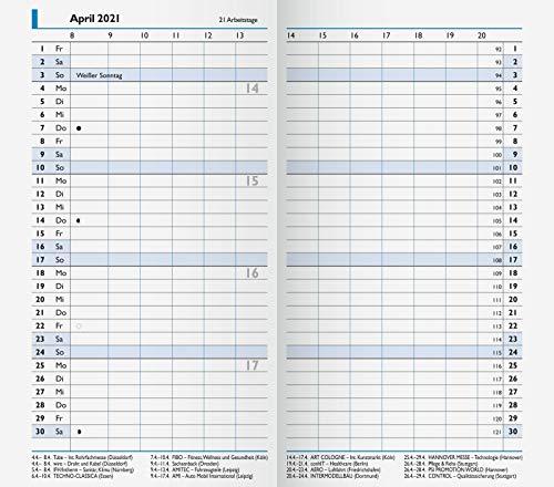 BRUNNEN 1075000001 Taschenkalender/Monats-Sichtkalender Modell 750 Ersatzkalendarium, 2 Seiten = 1 Monat, 8,7 x 15,3 cm, Kalendarium 2021