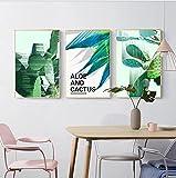 Decoración del comedor pintura plantas verdes cactus sala de estar pinturas planta tríptico porche mural flor arte pintura-A canvas_50cm * 70cm * 3