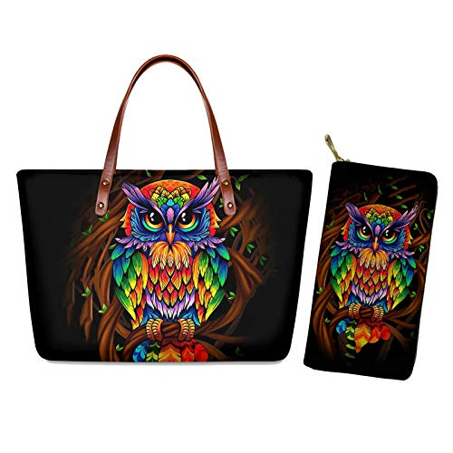 Nopersonality Owl Design Handbags for Women Fashion Ladies Tote Bag Travel Daily Shopping Large Shoulder Bags with Clutch Purse