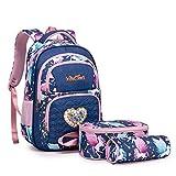 Wind Took Kinderrucksack Schulrucksack 3-TLG Schultasche Teenager Rucksack Backpack Mädchen Jungen Kinder Schultaschen-Sets mit Brotdose und Federmäppchen...
