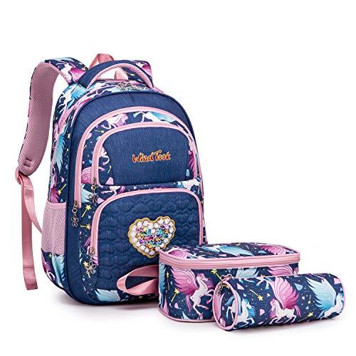 Wind Took Kinderrucksack Schulrucksack 3-TLG Schultasche Teenager Rucksack Backpack Mädchen Jungen Kinder Schultaschen-Sets mit Brotdose und Federmäppchen (Königsblau)