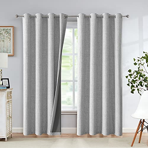Grey Blackout Curtains for Bedroom 84 Inch Length Linen Textured Look...