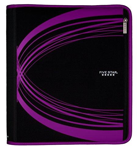Five Star 2 Inch Zipper Binder, Xpanz, Removable Pencil Pouch, Durable, Purple (73786)