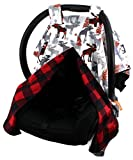 Dear Baby Gear Deluxe Reversible Car Seat Canopy, Custom Minky Print, Moose Tree and Red Black Plaid