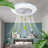 ZMLG LED Invisible Ventilador de Techo Luz y Mando a Distancia Ventilador LED lluminacion de Techo 3 Velocidades Fan Lampe Dormitorio Cuarto de Niños Lámpara de Techo LED Redondo,Ø50CM,72W,Azul