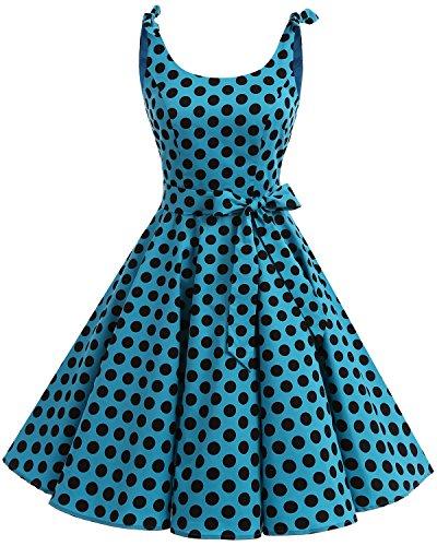Bbonlinedress Vestidos de 1950 Estampado Vintage Retro Cóctel Rockabilly con Lazo Blue Black Big Dot 2XL