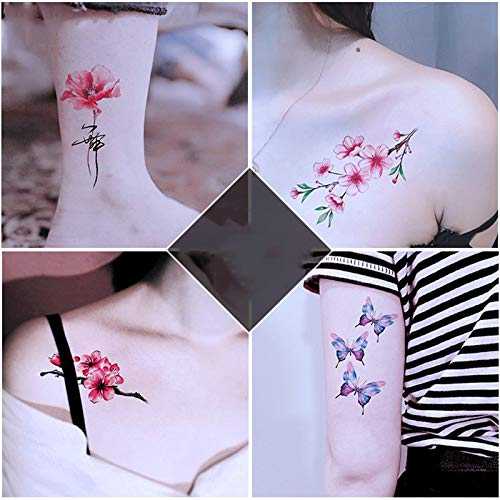 YSYYSH Color Flor Planta Tatuaje Pegatinas Mujer Duradera Sexy ...