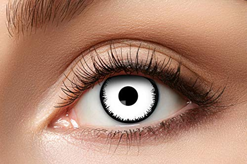 Eyecatcher 84080441-952 - Farbige Kontaktlinsen, 1 Paar, für 12 Monate, Weiß, Karneval, Fasching, Halloween
