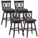 COSTWAY Bar Stool Set of 4, 29 inch Counter Height 360 °Swivel Bar Stool with Foot Rest Upholstered Cushion & Ergonomic Backrest, Sturdy Frame, for Pub, Restaurant, Home (4, Black + Grey)