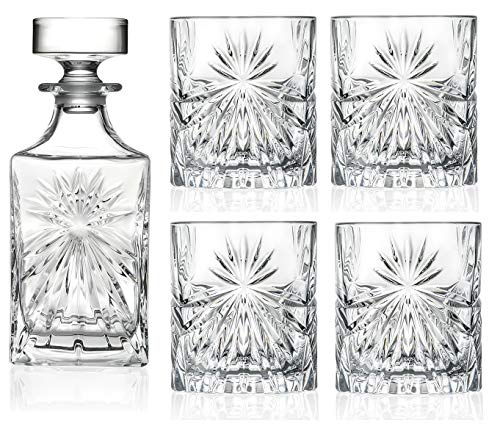 RCR Cristalleria Italiana Crystal Glass Drinkware Set (Whiskey Decanter (25 oz) & 4-Piece DOF (10.65...
