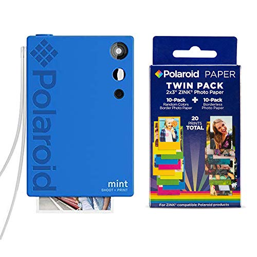 Polaroid Mint Instant Print Digital Camera (Blue), W/ 20 Pack Zink Zero Ink 2x3 Sticky-Backed Photo Paper
