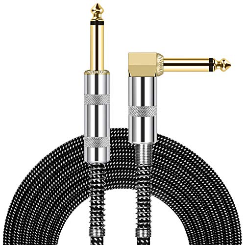 JOLGOO Guitar Cable, 1/4 Inch Cable 10 Ft, Straight to Right Angle 6.35mm Plug Bass Keyboard Instrument Cable, Black and Gray Tweed Cloth Jacket, Electric Mandolin, pro Audio