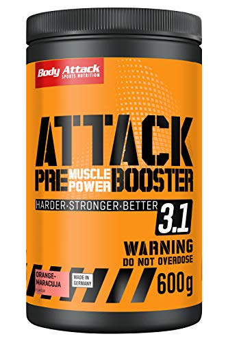Body Attack PRE ATTACK 3.1, Pre Workout Booster Extreme mit Creatin und Beta Alanin, 600g Pulver, Orange-Maracuja