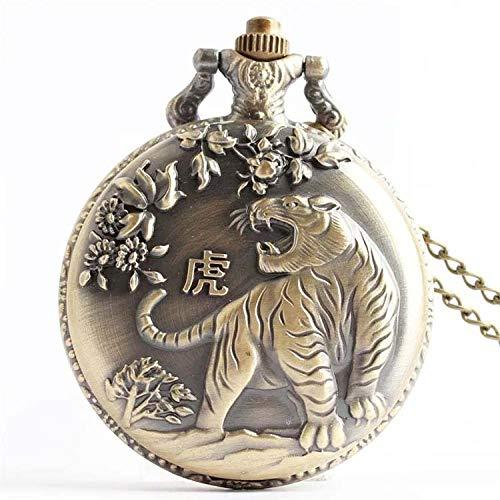WDDYYBF Vintage Pocket Horloge Mannen En Vrouwen Ketting Hanger Geschenk, Chinese Zodiac Bronzen Tijger Sleutelhanger Trui Ketting Taille Ketting Mode Sieraden Quartz Pocket Horloge