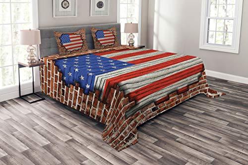 ABAKUHAUS Vereinigte Staaten von Amerika Tagesdecke Set, American National Flag, Set mit Kissenbezügen luftdurchlässig, für Doppelbetten 220 x 220 cm, Braun Blau Rot