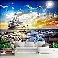 Iusasdz カスタム3D壁壁画現代の海辺の風景サンセットヨット写真壁紙壁布リビングルーム背景壁家の装飾-280X200Cm