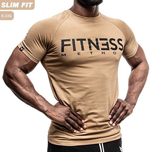 Fitness Method, Sport T-Shirt Herren, Slim-Fit Shirt bequem & hochwertig Männer, Rundhals & Tailliert, Training & Freizeit, Gym & Casual Workout Mann, 95% Baumwolle, 5% Elastan, (Khaki - Schwarz XL)