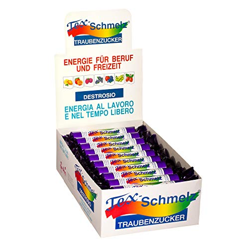 Tex-Schmelz Traubenzucker Destrosio Caramella Frutti di bosco, confezione 30 rotoli da 33gr - energia rapida e veloce, aumenta fabbisogno energetico per cervello e muscoli, assorbimento immediato