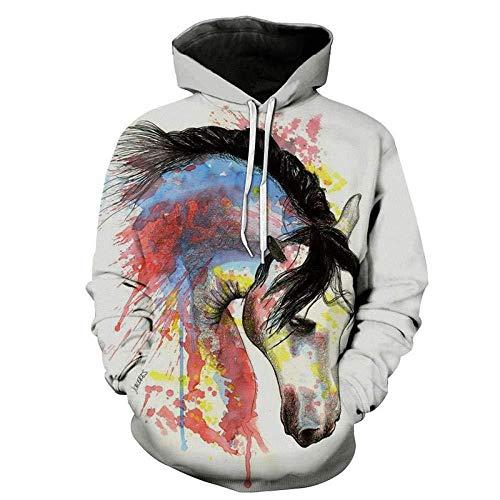 yyqx container 3D Sweatshirt Hoodie Pferd 3D Druck Hoodies Unisex Langarm Atmungsaktive Sweatshirts Verstellbarer Kordelzug mit Kangaroo Pocket-Color , XS