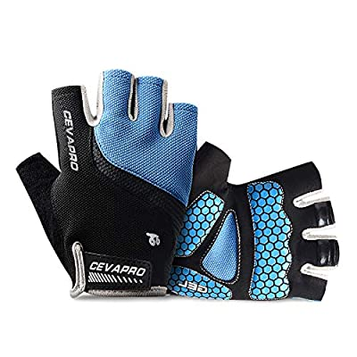 Cevapro Cycle Gloves Mountain Road Bike Gloves Half Finger Bicycle Gloves with Anti Slip Shock-Absorbing Gel Pad Cycling Riding Biking Gloves MTB DH Road Bicycling Gloves for Men Women (Blue, S)
