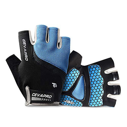 Cevapro Cycle Gloves Mountain Road Bike Gloves Half Finger Bicycle Gloves with Anti Slip Shock-Absorbing Gel Pad Cycling Riding Biking Gloves MTB DH Road Bicycling Gloves for Men Women (Blue, M)