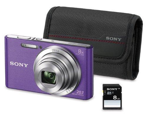 """Sony DSC-W830 - Cámara compacta de 20.1 Mp (pantalla de 2.7"""", zoom óptico 8x, estabilizador óptico), violeta - Kit cámara + Funda + SD 8 GB"""