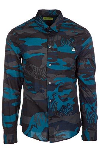 Versace Jeans - Camisa para hombre, manga larga, color azul