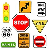 Road Sign Wall Decals, Street Sign Wall Decor Stickers Stop Sign, One Way, Traffic Light, Yield, Caution Construction, Do Not Enter Route 66, Boys Room Decor Fun Decoration for Bedroom (Road Sign)