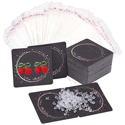 PandaHall 100 Stück Quadratische Ohrring-Grafikkarte, 2 x 2 Zoll Papier Schmuck Display Kartenhalter Organizer Tags Verpackungskarten Mit 100 Stück OPP Bag 200 Stück Kunststoff Ohrmuttern, Schwarz