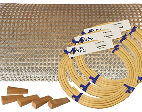 Pressed Cane Webbing Kit 1/2' Fine Open Mesh with splines, Wedges and Instructions