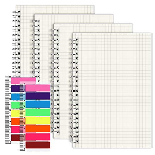 EOOUT 4 Pack A5 Spiral Notebook, Graph Paper, Hardcover Journal, 5.5'x 8.5', 100gsm Paper, 80 Sheets, with 2pcs Neon Color Page Markers, for Office, School Supplies