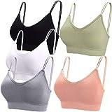 BQTQ 5 Piezas Sujetador de Camisola con Tirantes Bralette Sin Aros para Mujer, 5 Colores (Negro, Blanco, Gris, Rosa, Verde, XL)