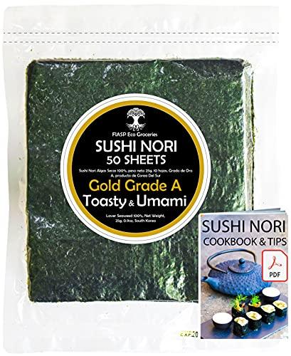 Hojas de algas marinas Sushi Nori horneadas a Septiembre de 2021 - Granja familiar de Corea del Sur (50 hojas completas) Grado superior (oro), libro electrónico Nori, Toasty y Umami