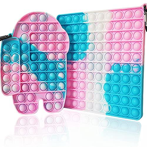 2 große Pop-Push-Bubble-Spielzeug, quadratisch, rosa, blau, 100 Blasen, Jumbo-Pop-Silikon-Batik-Spielzeug, zum Stressabbau, für Erwachsene und Kinder, Geburtstags-Party-Geschenke (batik-pink).