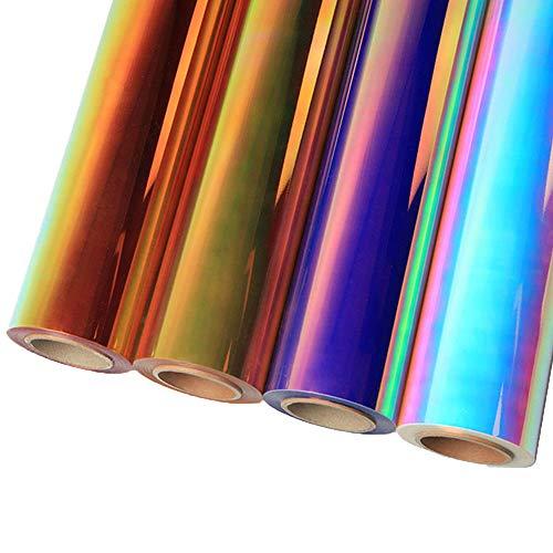 HOHOFILM Neo Chrome holografisches Vinyl zur Wärmeübertragung,T-Shirt-Bügelfolie, Transfer, Lettering-Film 30cmx49cm 4colors pack