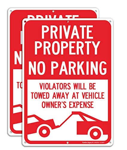 (2 Pack) Private Property No Parking - Violators Will Be Towed Away at Vehicle Owner's Expense Sign, Reflective .40 Rust Free Aluminum 14 x 10, UV Protected, Weather Resistant, Waterproof, Durable Ink
