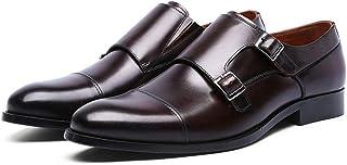 Kirabon Mengke Zapatos Hebillas de los Hombres monjes Zapatos Zapatos de Cuero de los Hombres (Color : Dark Brown, Size : 46)