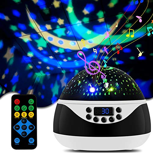 Star Night Light Projector for Kids, CrazyFire Projector Night Lamp with Timer & Music, 360 Degree Rotating Galaxy Night Light Projector for Girls, Birthday Gift/ Room Decor