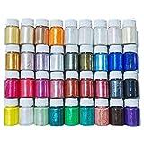 Mica en polvo colorante epoxi 36 colores, pigmentos minerales brillantes nacarados de calidad cosmética para necesidades de fabricación de jabón, fabricación de velas, arte de uñas, joyas de resina